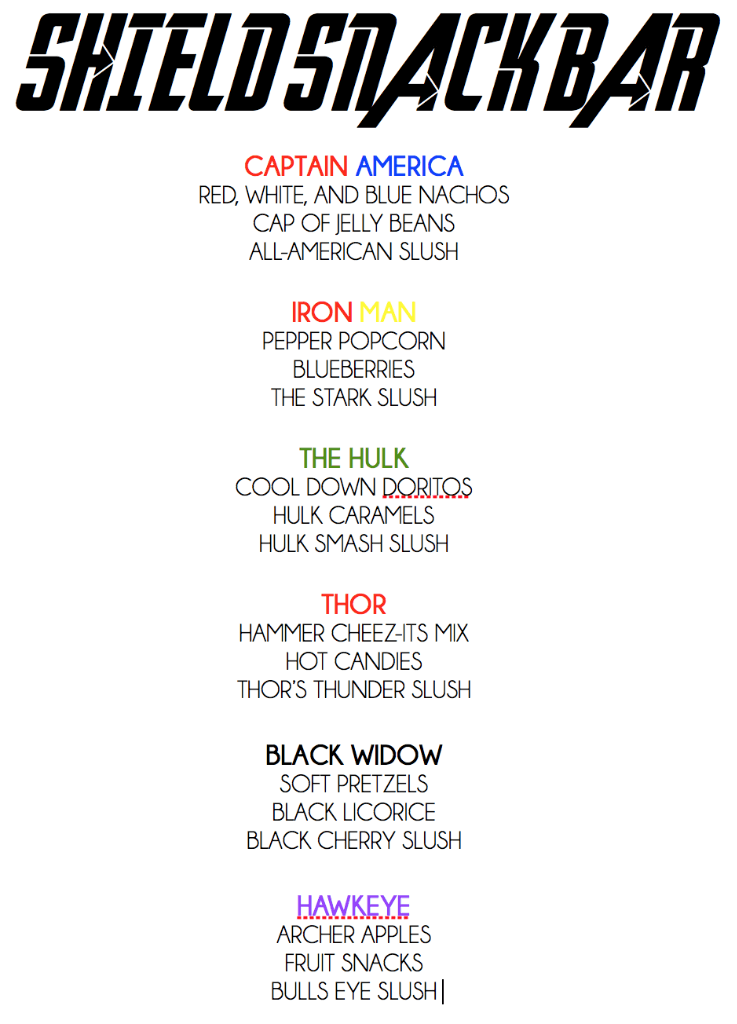 Avengers party food and movie night menu