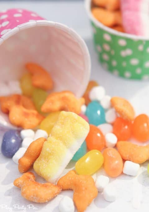 Spring treat mix full of cheddar chicks, white marshmallow clouds, Jelly Belly beans, and sour bunnies
