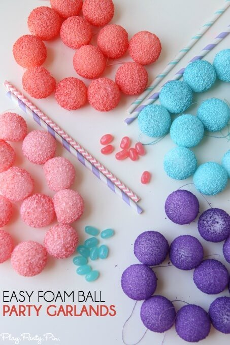 diy party decorations foam ball garlands