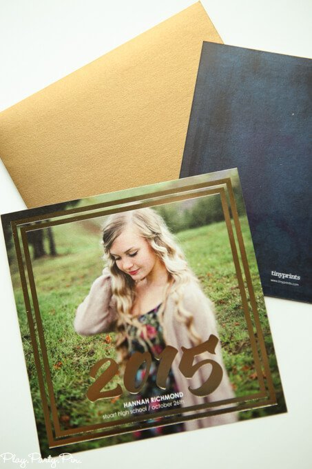 Gold foil graduation announcement idea from Tiny Prints