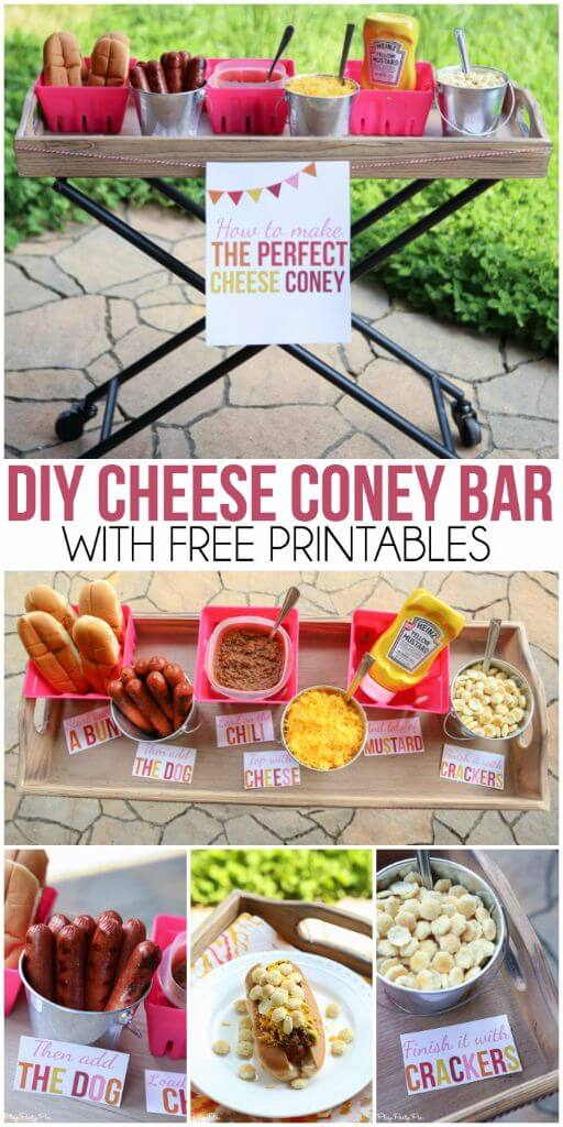 How to make the best cheese coney, love the cheese coney bar idea and all the fun summer party ideas on this blog!