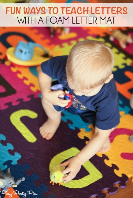 Love these fun idea for teaching letters to toddlers, who knew you could do so many fun things with a foam latter mat!