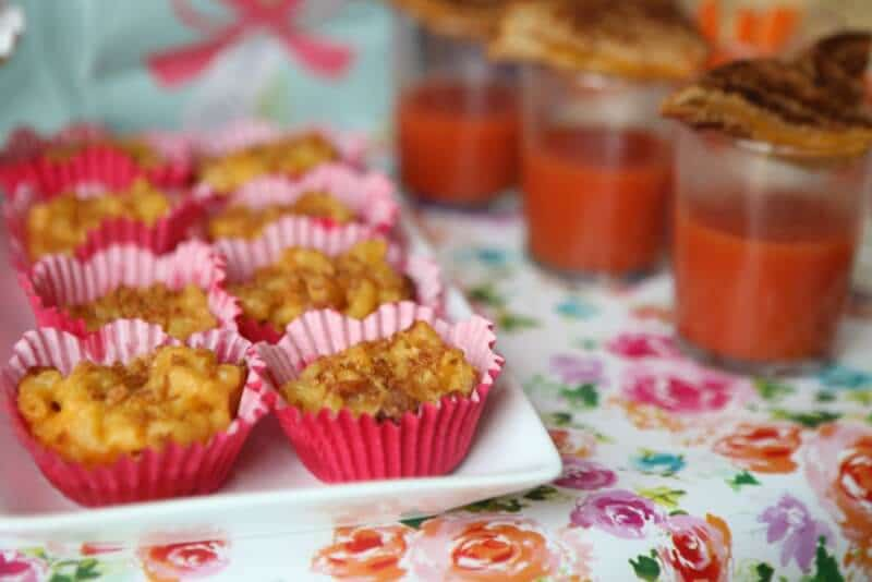 Macaroni and cheese cups, perfect for a party or shower. Serve in cute cups to stick with your theme.