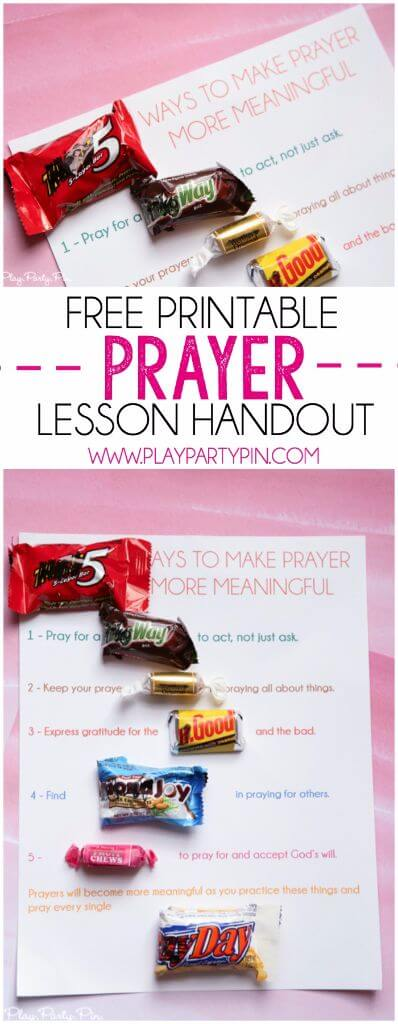 Classroom Handout Ideas ~ Free printable prayer lesson handout