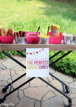 This make your own cheese coney bar with free printables is so cute! Love all the fun summer party ideas on this blog.