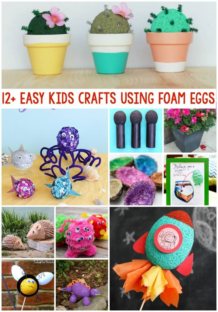 12 awesome kids craft ideas all made using FloraCraft® foam eggs! Perfect for a rainy summer day activity.