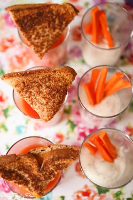 Grilled cheese with tomato shooters and veggie dip with carrot sticks, perfect party food ideas!