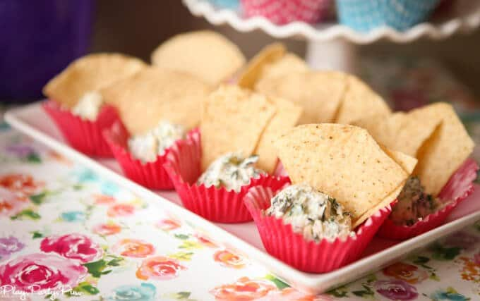 Love the idea of serving individual chips and dip in cups!
