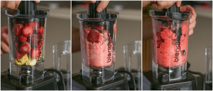Quick and easy strawberry pineapple sorbet recipe that's the perfect post-workout or healthy treat for a hot summer day!