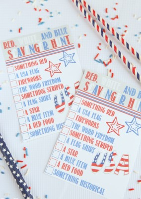 Free printable red, white, and blue scavenger hunt that's easy for 4th of July party games or Memorial Day party games!
