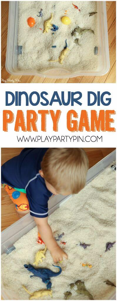 Great dinosaur party games! This dinosaur dig idea is perfect for all dinosaur lovers!