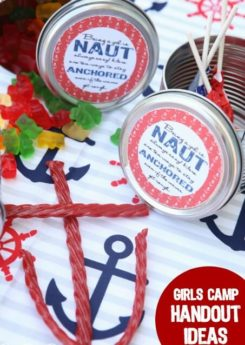 Girls camp handout ideas, great for YCL training or YCL gifts. Love these nautical themed girls camp pillow treat ideas!