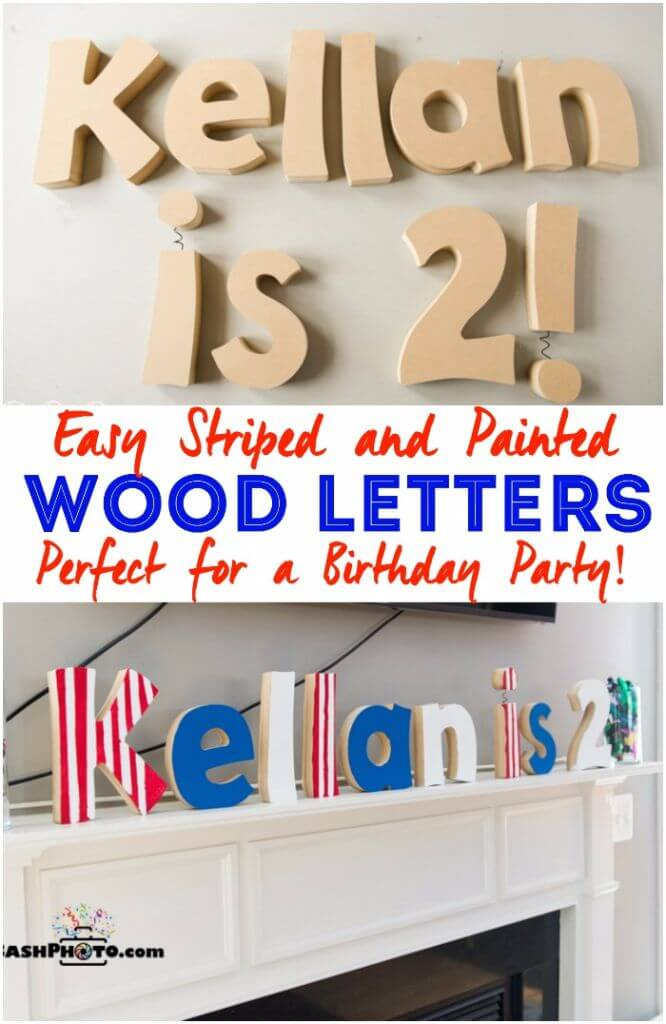 love the idea of painting wood letters to use as decorations for a birthday party and