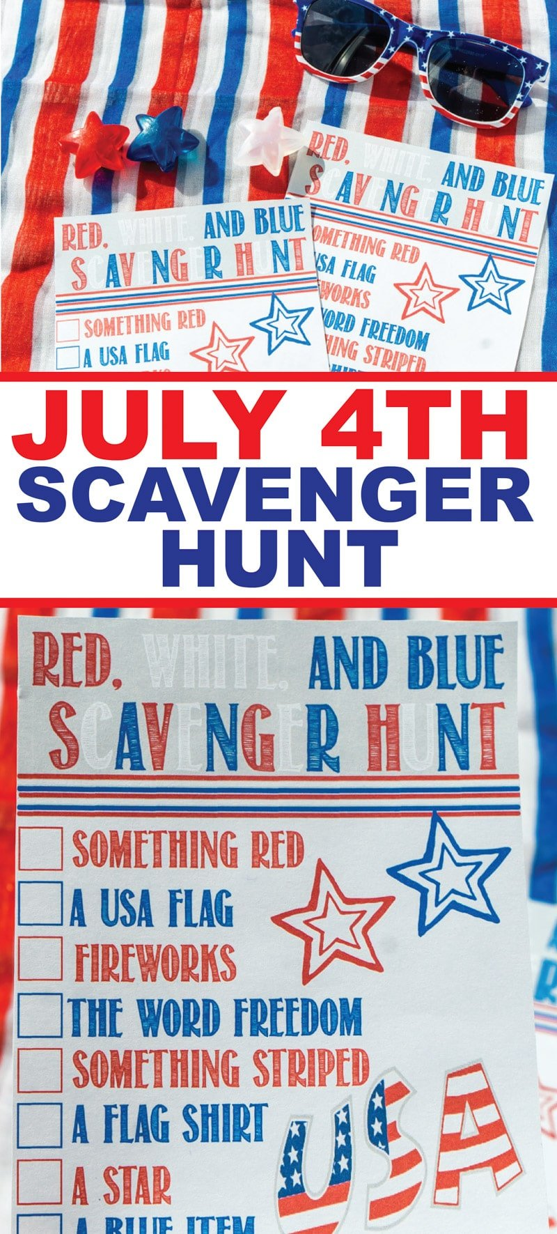 This printable 4th of July scavenger hunt is perfect for kids, for teens, and even for adults! A perfect DIY game for outdoor parties or even to play indoor!