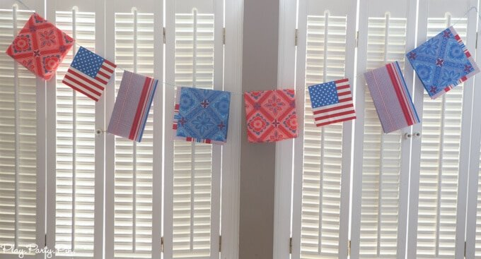 Simple red, white, and blue garland made from paper napkins