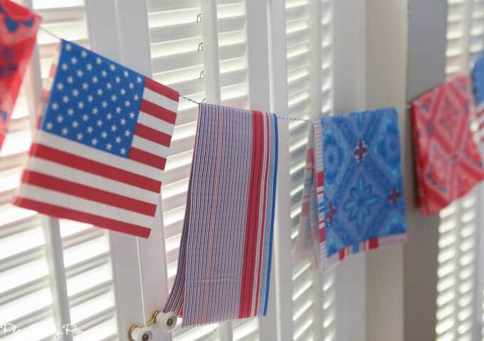 Love this red, white, and blue garland that she made from paper napkins. Such a simple and brilliant idea!