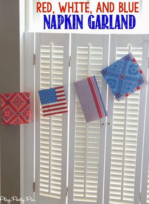 Simple red, white, and blue garland made from paper napkins. An inexpensive and easy way to add fun color an decorations to a party!