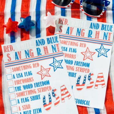 Red White and Blue Scavenger Hunt