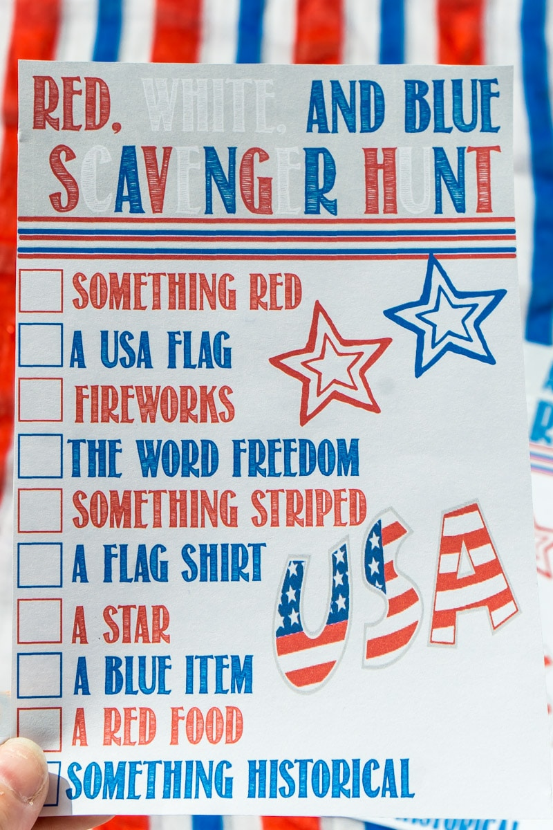 Printable 4th of July scavenger hunt