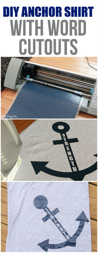 Easy DIY anchor shirts with words cutout for the embark in the service of God youth theme