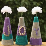 These easy color block vases made from foam and yarn are one of the cutest home decor ideas!