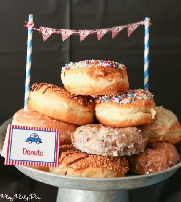 A donut cake is perfect for a things that go party cake or pop a wheelie party cake