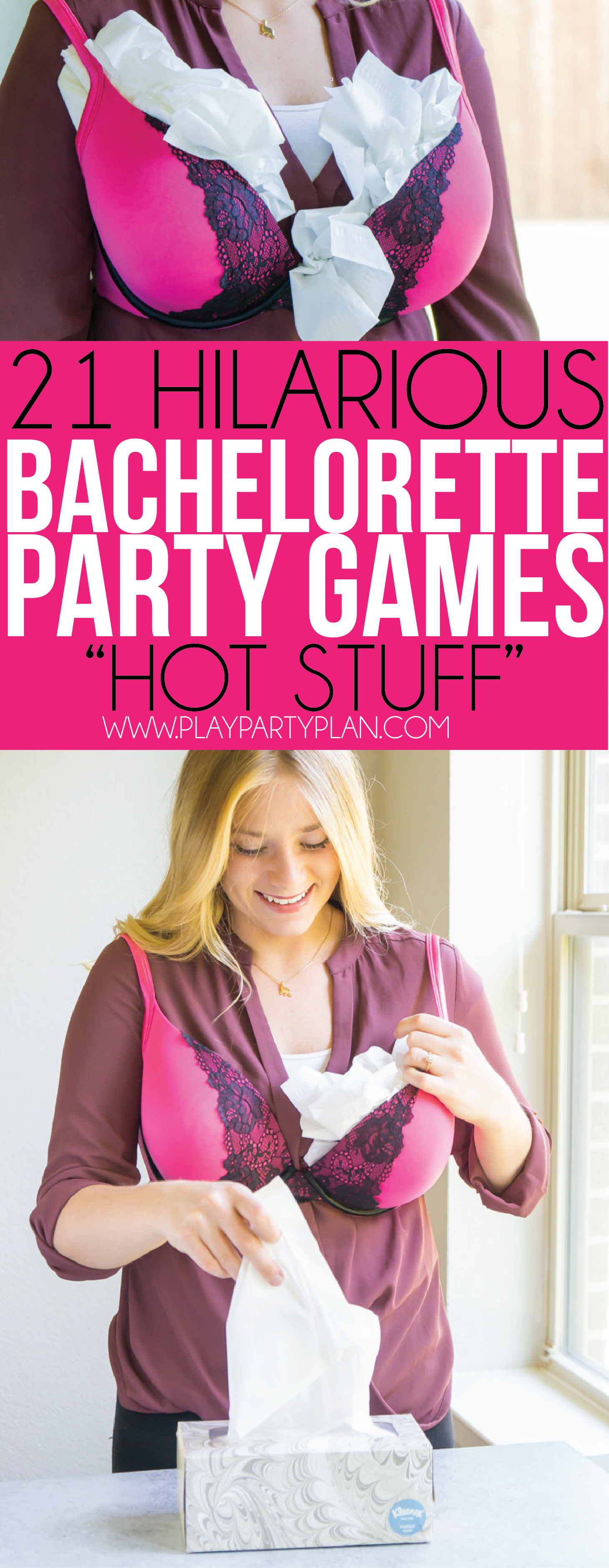 Race to be the first to stuff a bra in these hilarious bachelorette party games