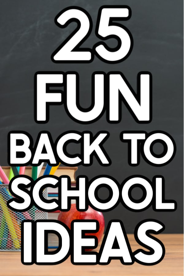 School supplies and an apply with text for Pinterest