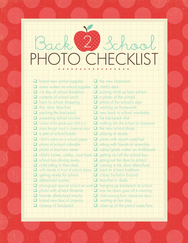 Back to school photo checklist with a red background