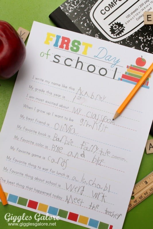PIece of paper with back to school interview questions