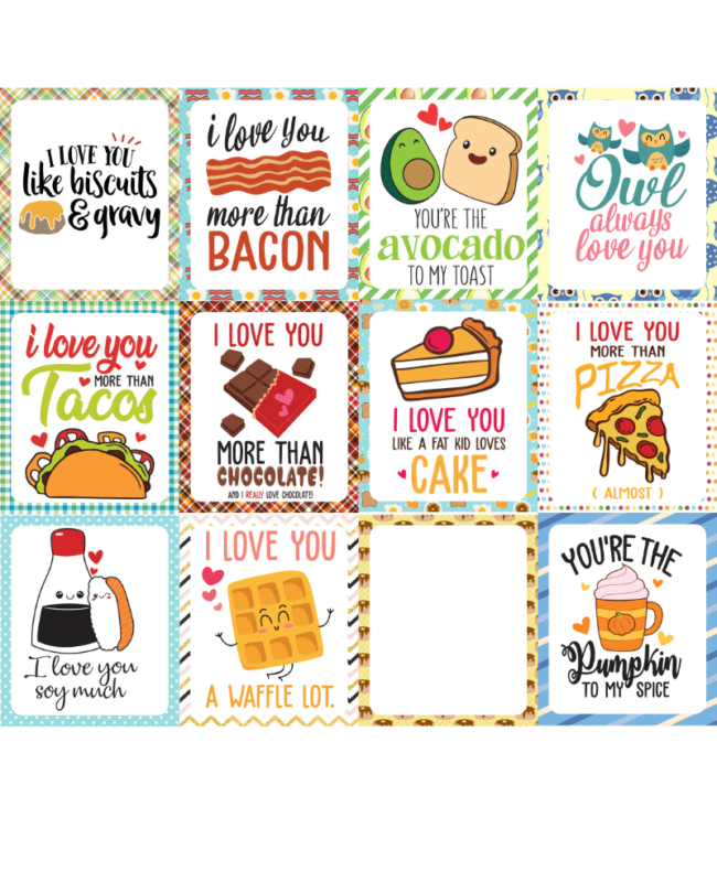 A page full of lunchbox notes