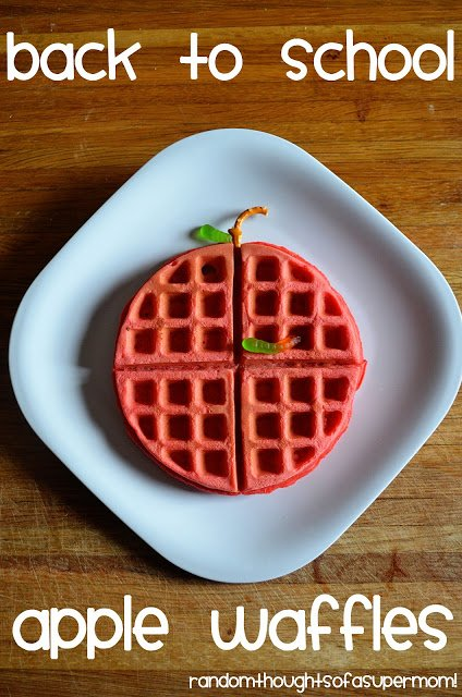 Red waffle on a white plate