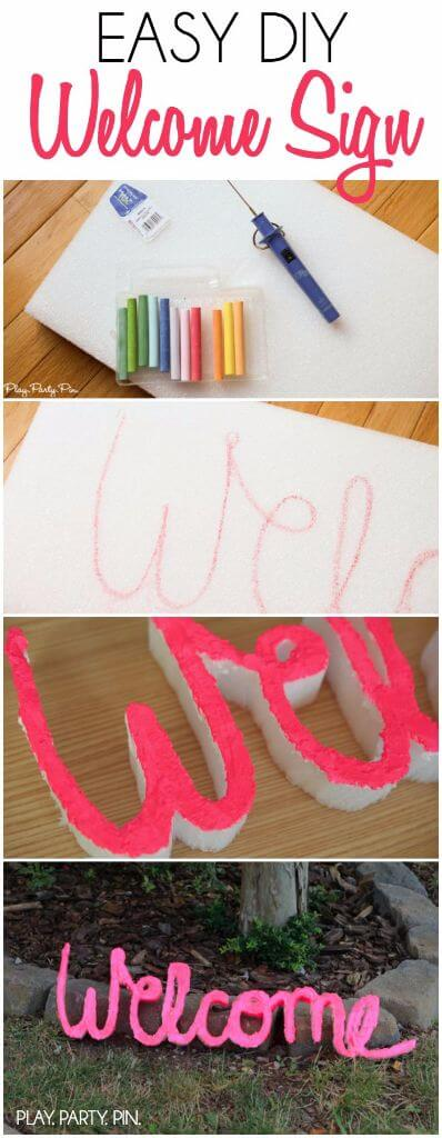 Make this DIY welcome sign from foam using MakeItFun foam sheets, a foam cutter, and a little paint. Perfect for outdoor decorating