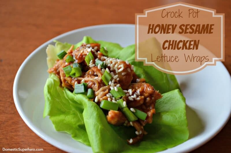 Honey Sesame Chicken Lettuce Wraps from Domestic Superhero