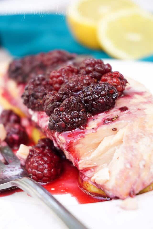 Blackberry lemon salmon recipe from Living Better Together