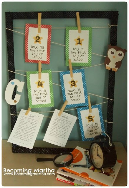 School countdown papers hanging from wood clips