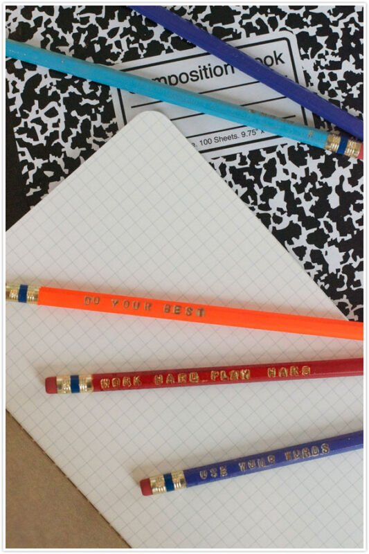 Personalized pencils on a marble notebook