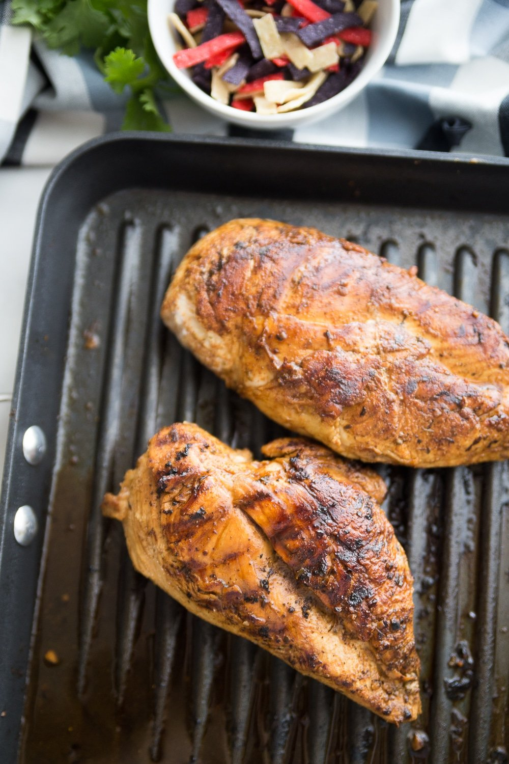 Chicken on a grill for southwestern chicken salad