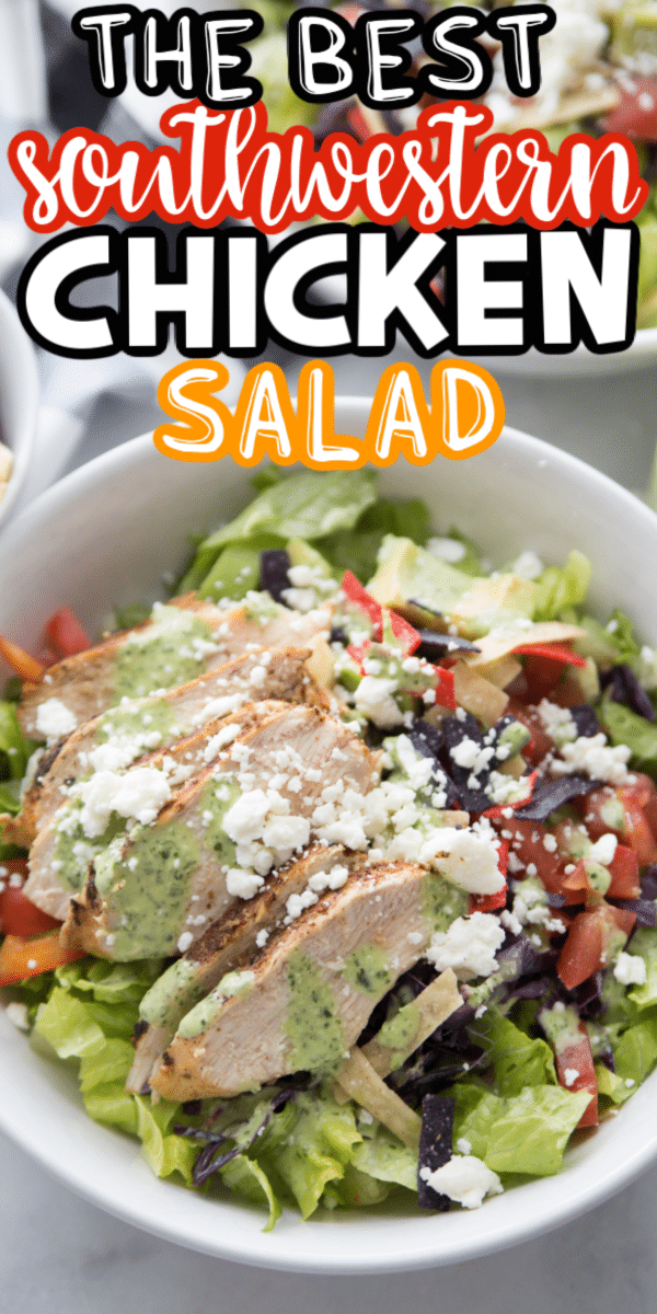 Bowl of southwestern chicken salad with text for Pinterest