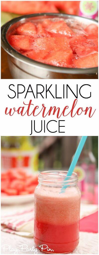 This sparkling water watermelon juice is the perfect summer drink for a hot day or a great girls night drink!