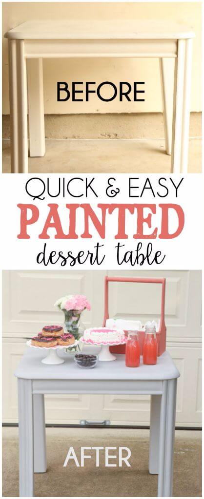 Love the idea of painting your dessert table and this tutorial for painting a table makes it look so easy!