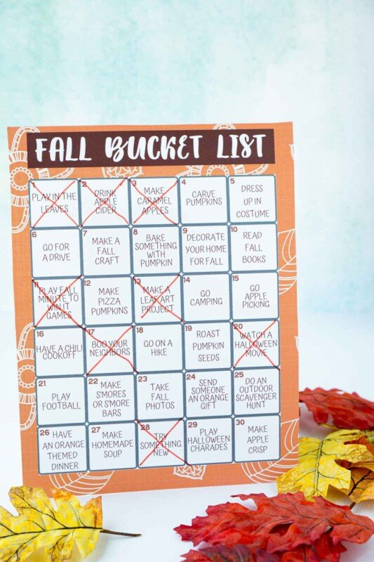 A fall bucket list with items crossed off surrounded by fake leaves