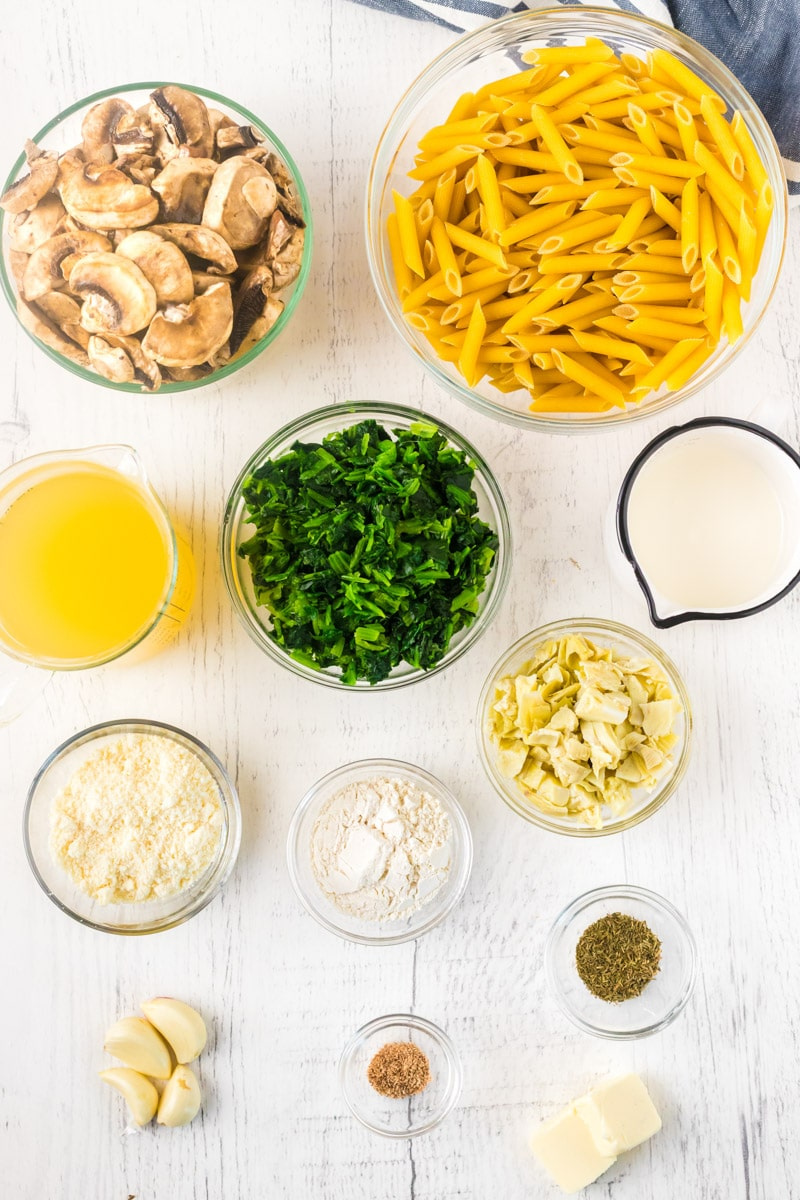 Ingredients for spinach and artichoke pasta