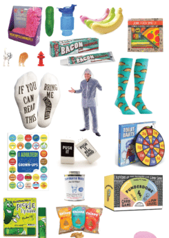 The ultimate list of white elephant gift ideas and non white elephant gifts that are great for gift exchanges! Unisex gifts, gender neutral gifts, and even gifts that will work for kids and adults!