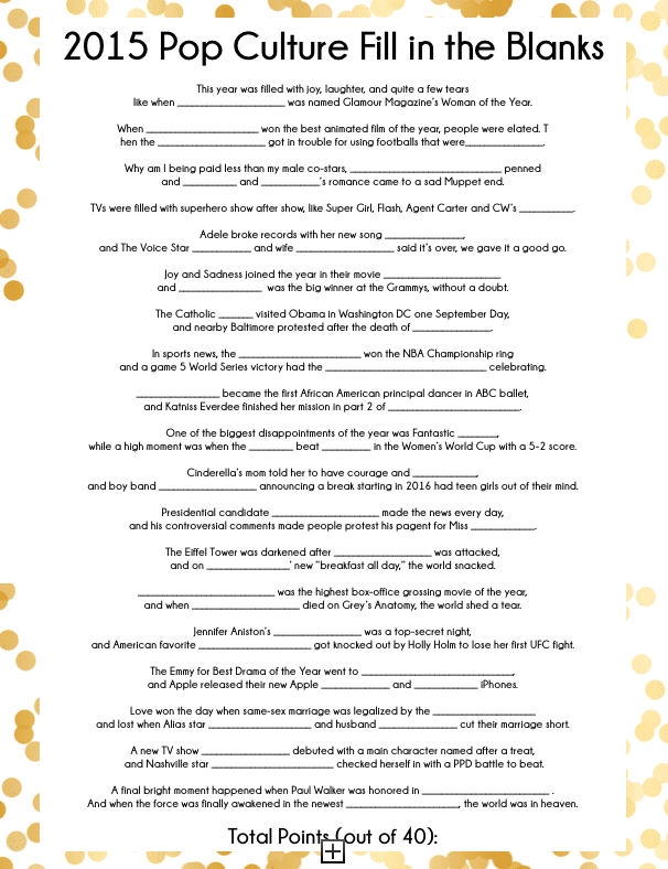 Looking for New Years party ideas? These four great printable New Years Eve Party Games are great party games for teens and adults! Test to see who can match up quotes from popular summer movies or who can tell you when One Direction announced their break or when Jennifer Aniston got married. Or how about that Game of Thrones won drama of the year and Jennifer Lawrence wants more money for actresses. I seriously can't wait to play #4 at my own new years eve party this year!