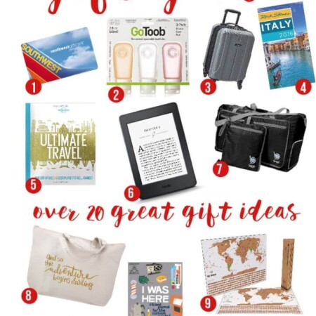 Need Christmas gift ideas for a friend going to Italy or New York or someone who just loves to travel? This gift guide for travelers is full of 20 great gifts for travelers including travel gifts for men, travel gifts for friends, and everything in between. Food, funny gifts, and even the cutest travelers notebook ever! I seriously need that travel pillow!