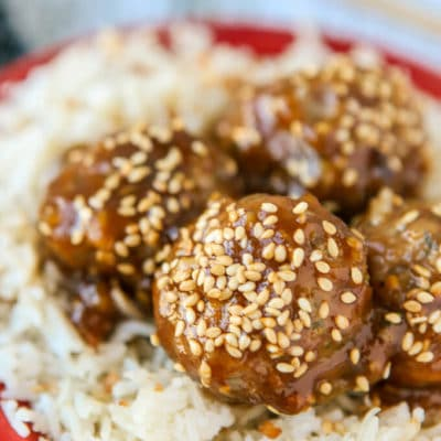 Easy Ground Turkey Meatballs with Teriyaki Sauce
