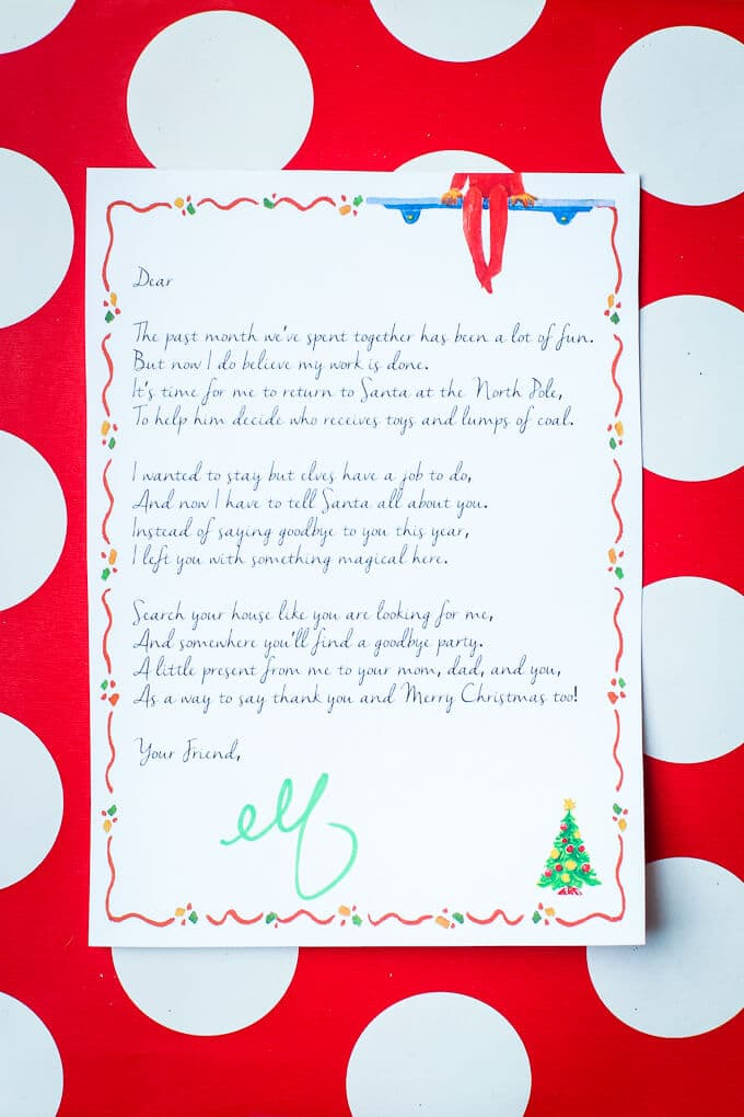 It's just an image of Lucrative Printable Elf on the Shelf Goodbye Letter