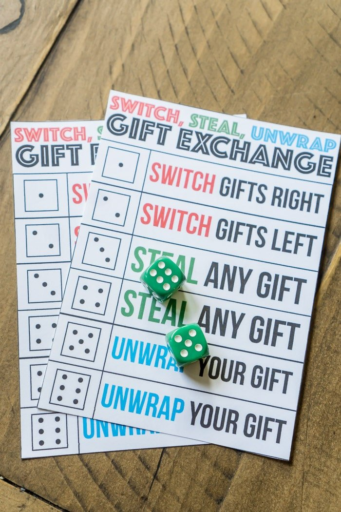 A christmas gift exchange game that uses dice and gifts