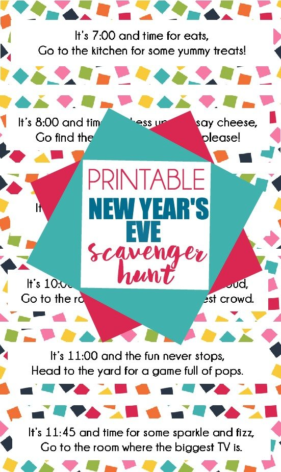 This free printable New Year's Eve scavenger hunt is perfect for kids (or adults!). Put each clue in an envelope labeled with a time and let them open it when the time comes. Clues direct kids to fun New Year's Eve activities for kids like popping confetti balloons, silly string wars, and more!